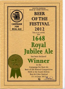 Royal Jubilee (now Royal Britannia) won South Downs CAMRA Festival Beer of the Festival winner 2012.