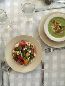 heirloom tomato salad and cucumber soup at Little Jack's Tavern