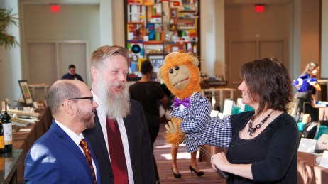 Edward Fernandez-Vila and Jeff Cornett with puppeteer Qate Bean