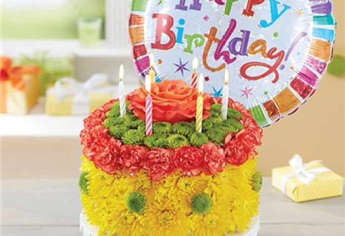 1 800 Flowers Birthday Wishes Flower Cake Yellow 1 800 Flowers 4