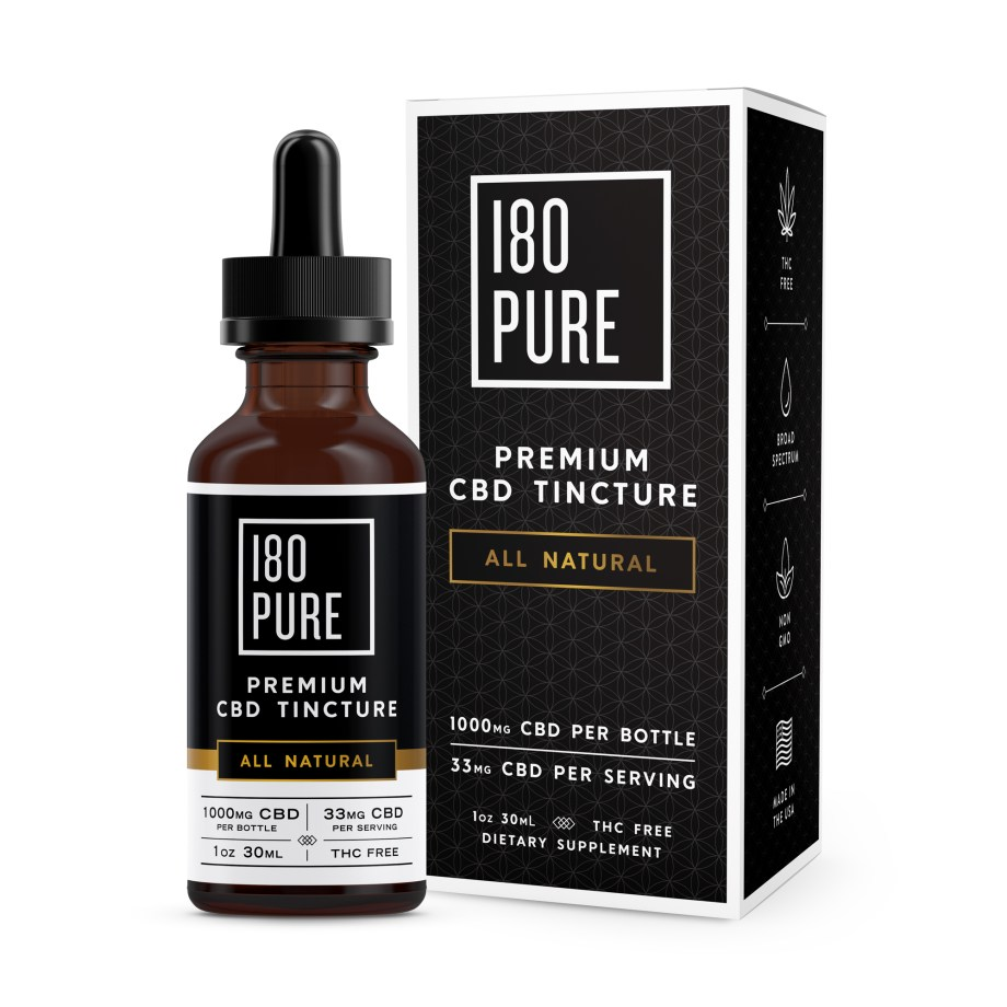 180Pure CBD Premium Tincture All Natural Package