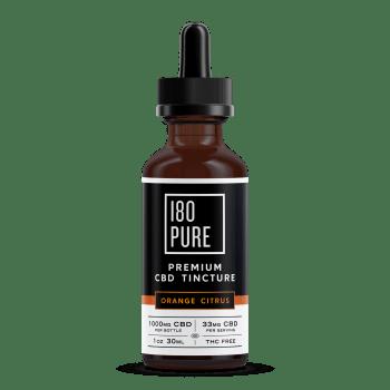 180Pure CBD Premium Tincture Orange Citrus Bottle