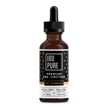180Pure CBD Premium Tincture Pet Formula Bottle
