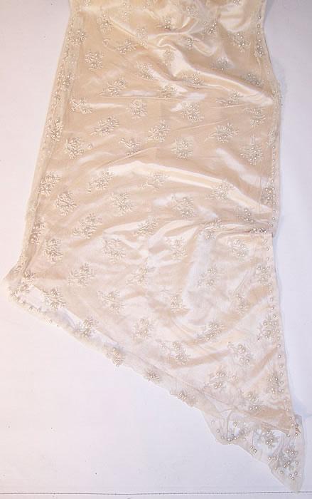 Vintage White Silk Beaded Bobbin Lace Wedding Dress