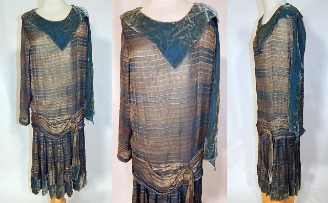 Vintage Art Deco Striped Blue & Gold Lamé Lame Velvet Drop Waist ...