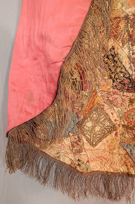 Antique 18th Century Textile Embroidered Patchwork Gold