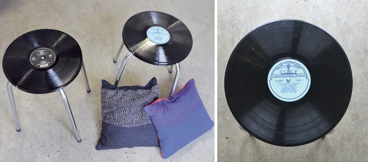 DIY Pour Fabriquer Un Tabouret Avec Des Disques Vinyles