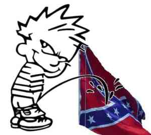 pissing on the confederate flag