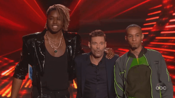 Uche, Ryan Seacrest and Demetrius on American Idol (Courtesy of ABC)