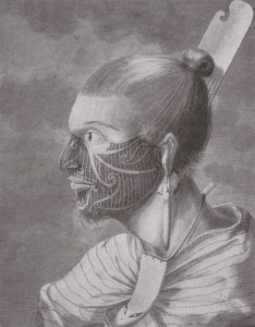 "Figure 3: ""Puhoro"" Maori facial tattoo.  Sidney Parkinson.  Hawkesworth's ""An Account of the Voyages..."" (1773)."