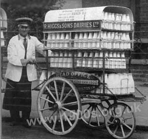 Image result for milk delivery man with hand cart