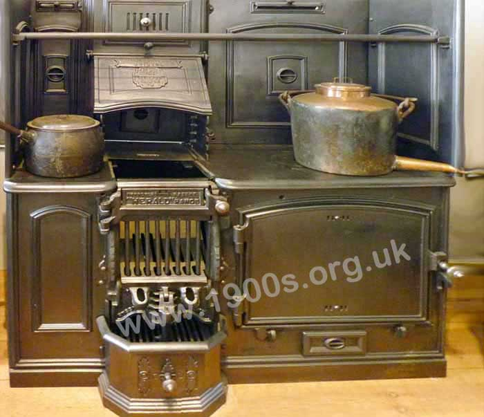Old Victorian or Edwardian coal-fired kitchen range, also known as a kitchener.