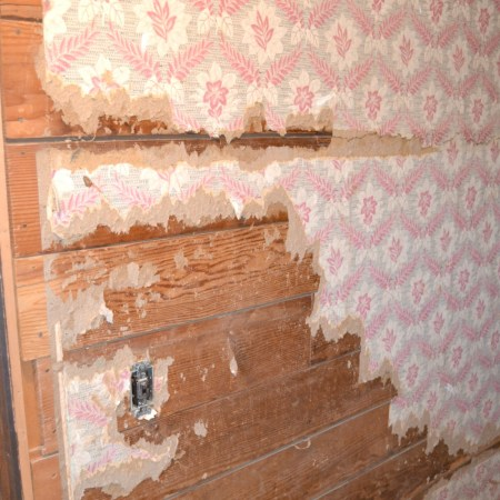 Learn about removing tough thicker wallpaper from shiplap