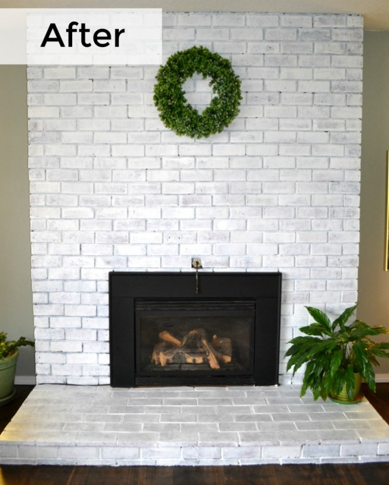 Whitewashing our fireplace transformed our space from outdated to cozy, warm and modern