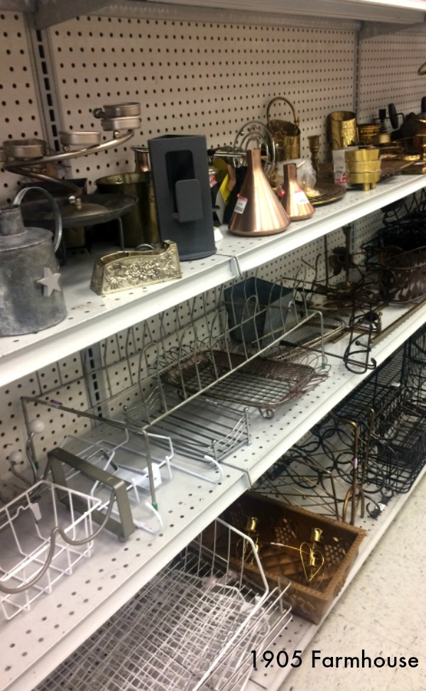 Metal aisle at thrift store, never know what you will find