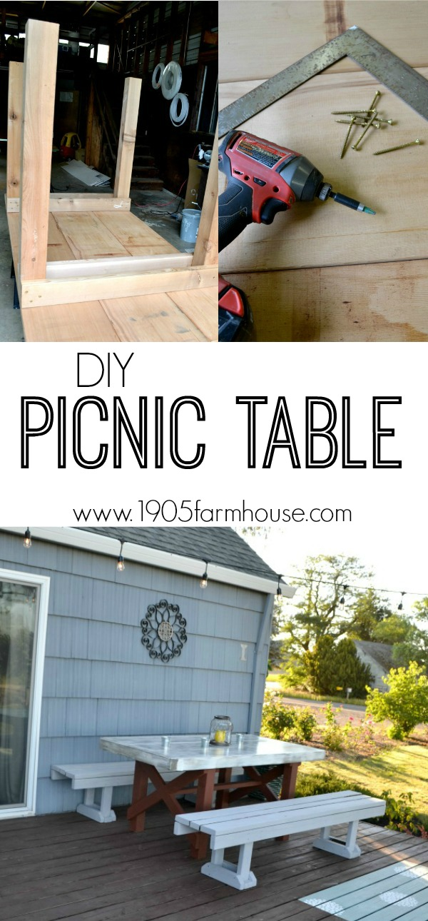 How to create an outdoor picnic table in a weekend. An easy, simple design to add to any outdoor living space, deck or patio #outdoorliving #picnictable #diyproject #woodproject