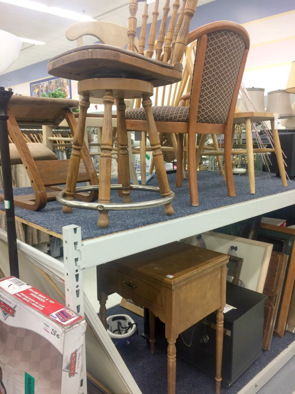 Thrift store furniture is great for updating your home by adding some paint or repurposing