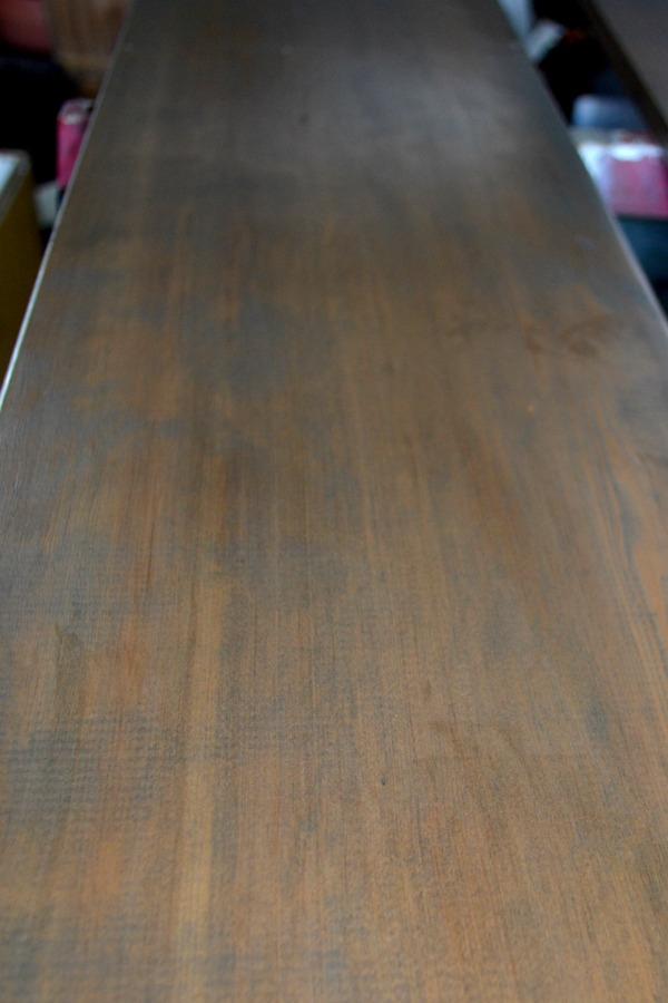 Final shelf color by layering wood stain