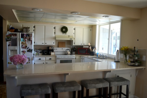 Painted kitchen cabinets in a 1905 farmhouse