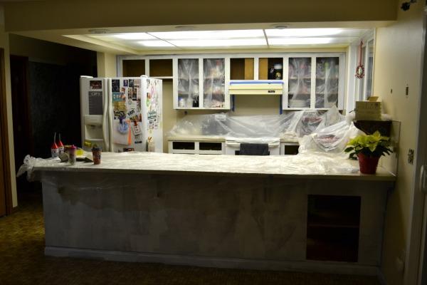 Primed kitchen cabinets