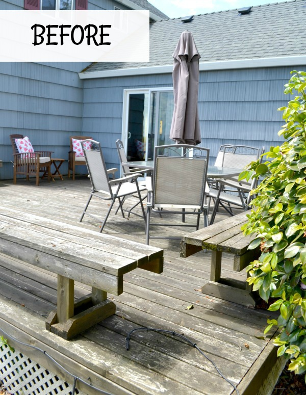 Outdoor deck space is updated with power washing and new stain