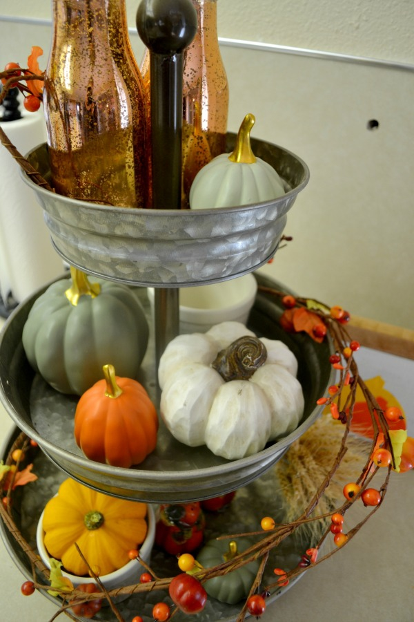 3-tier metal tray being used in a kitchen for any holiday decor