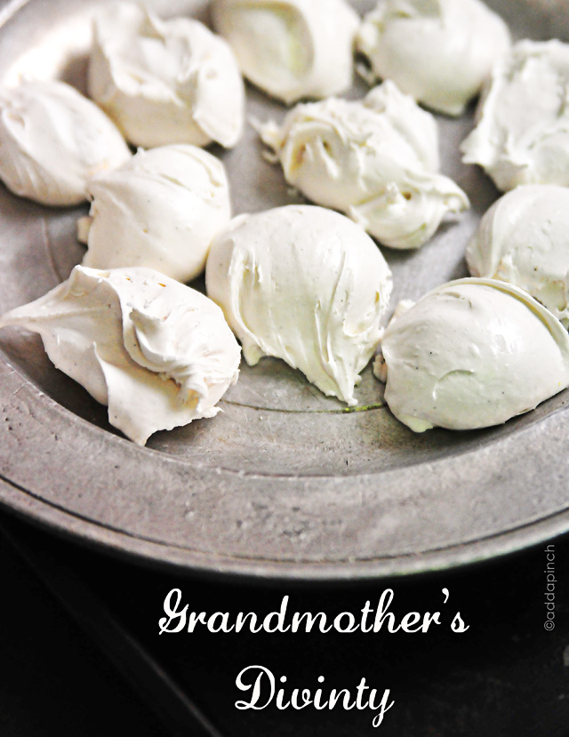 Divinity is an old family favorite, this recipe is very similiar to my family's, this is from Add a Pinch