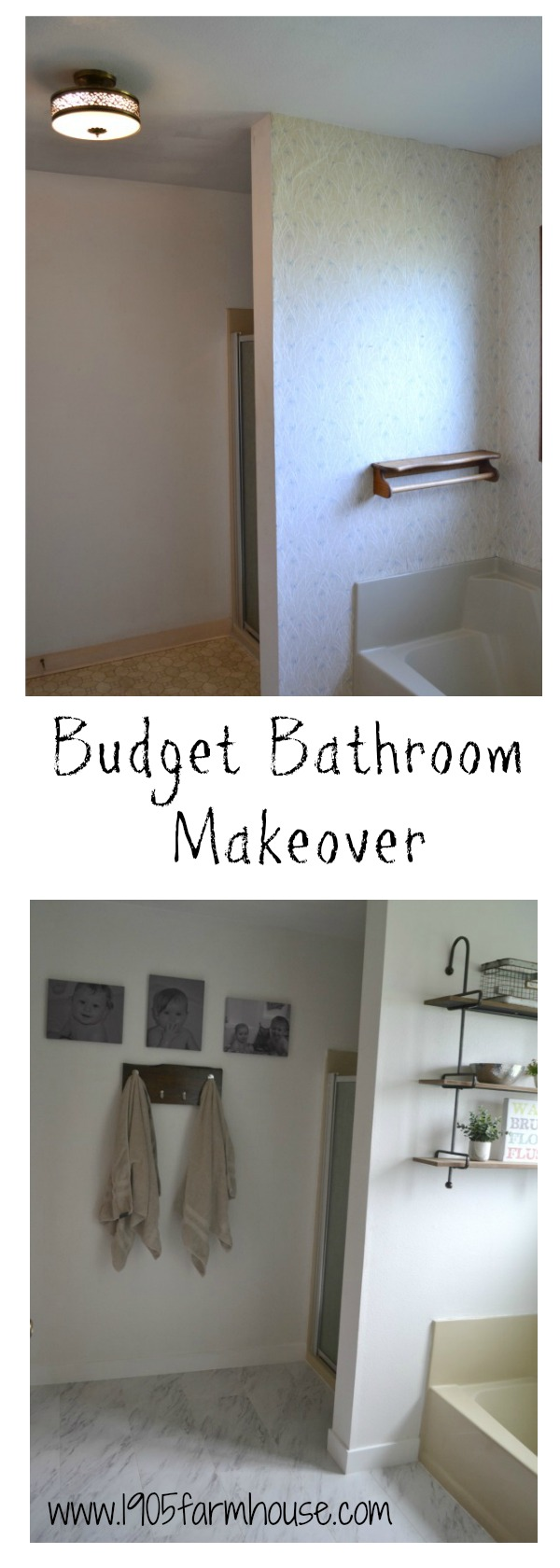 An easy bathroom budget makeover using paint, new flooring and trim #bathroommakeover #diy #farmhouseupdate