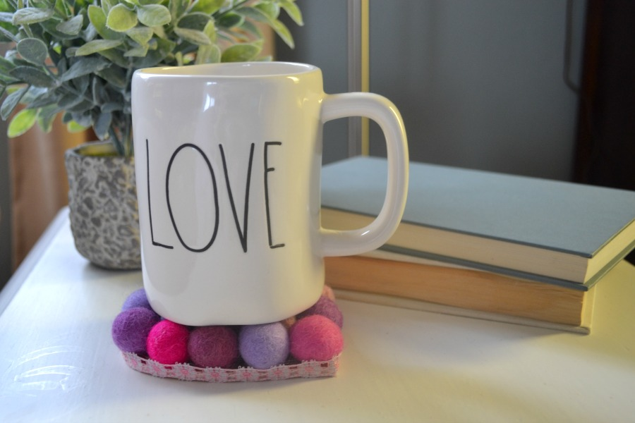 Heart coasters are perfect for Valentine's Day