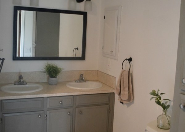 A budget bathroom makeover with some paint and new decor elements