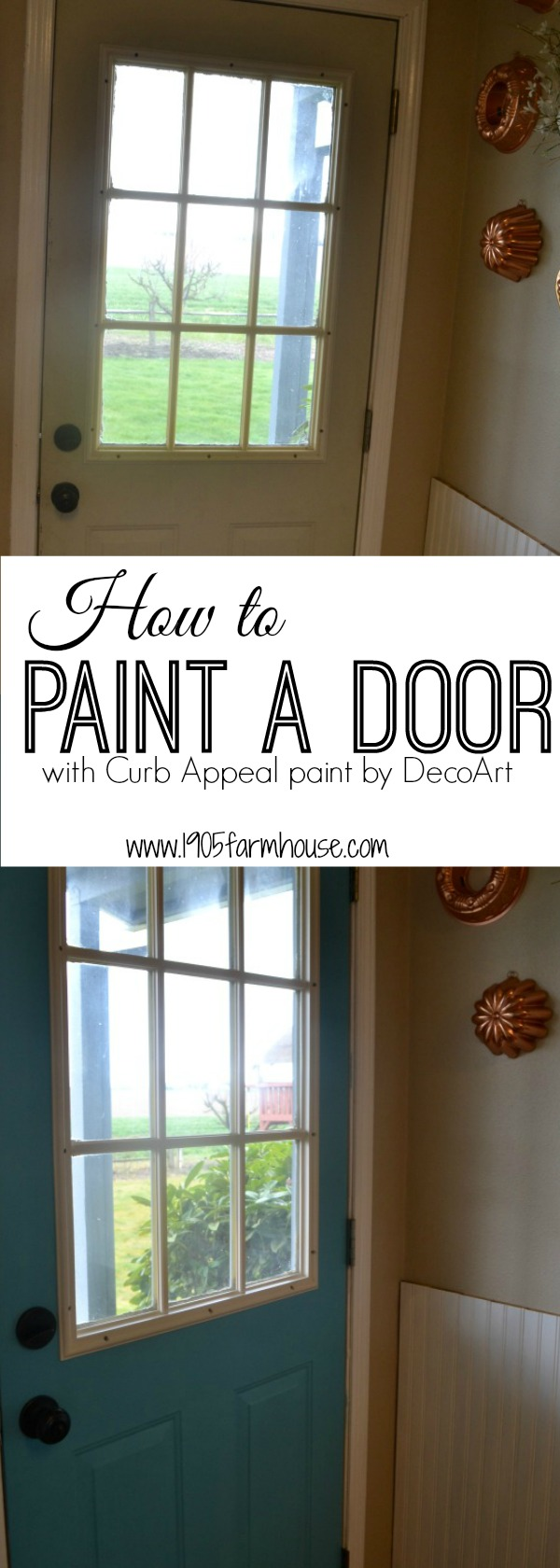 A full tutorial on how to paint a metal interior door to add bold color and update a laundry room #diyproject #paintproject #fixerupper