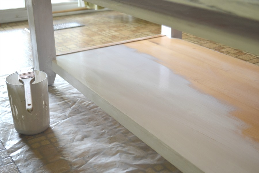 Milk paint updated coffee table