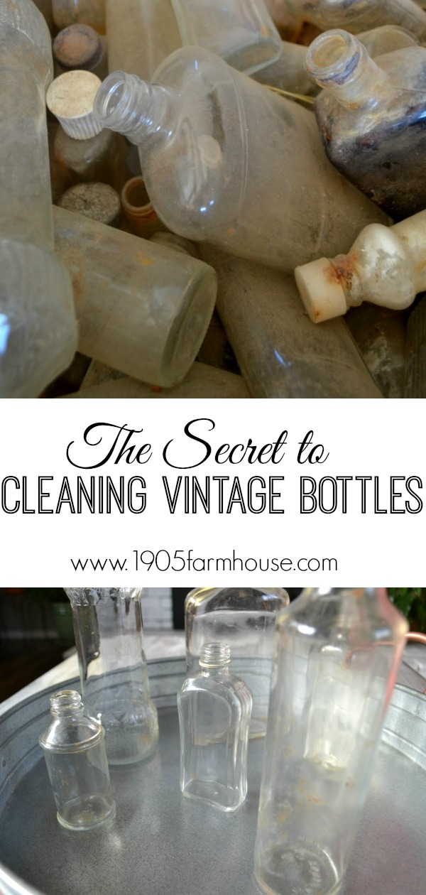 The secret to cleaning vintage narrow neck bottles using an inexpensive household product #vintage #1905farmhouse #farmhousestyle