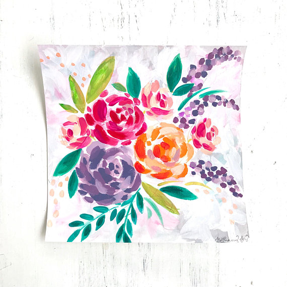 Purple, pink and orange watercolor flowers on an 8x8 white background