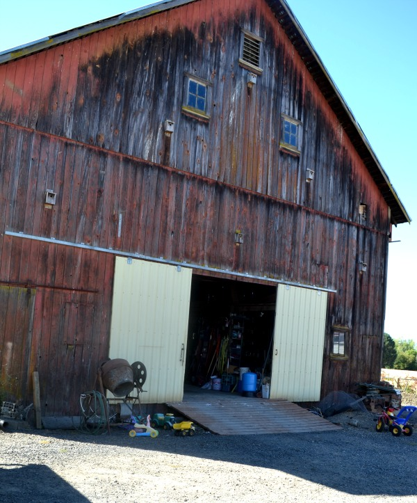 An outside picture of a barn that is faded red with sliding yellow metal doors open with a ramp up to the barn
