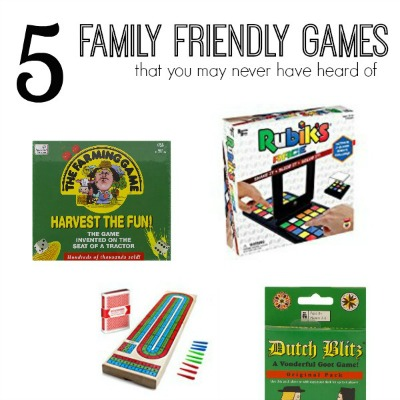 A collage of 5 different board and card games for families to play