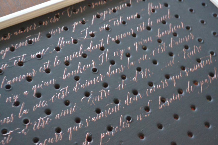 A close up of a black chalk painted pegboard with copper French scripting on top