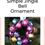 A pink, purle, blue and yellow jingle bells in the shape of a wreath with text overlay