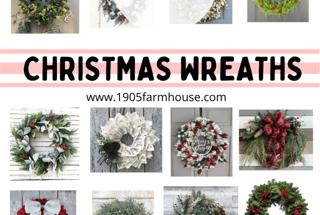 20 of the Best Christmas wreaths arranged in a collage with the words 20 Christmas Wreaths in the middle