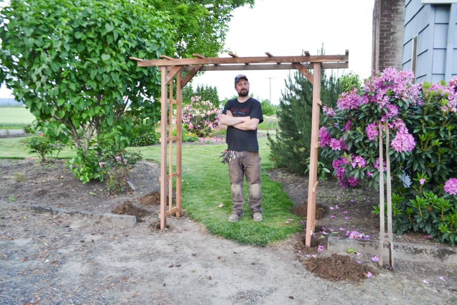 A man standing under a garden arch with green grass on the other side