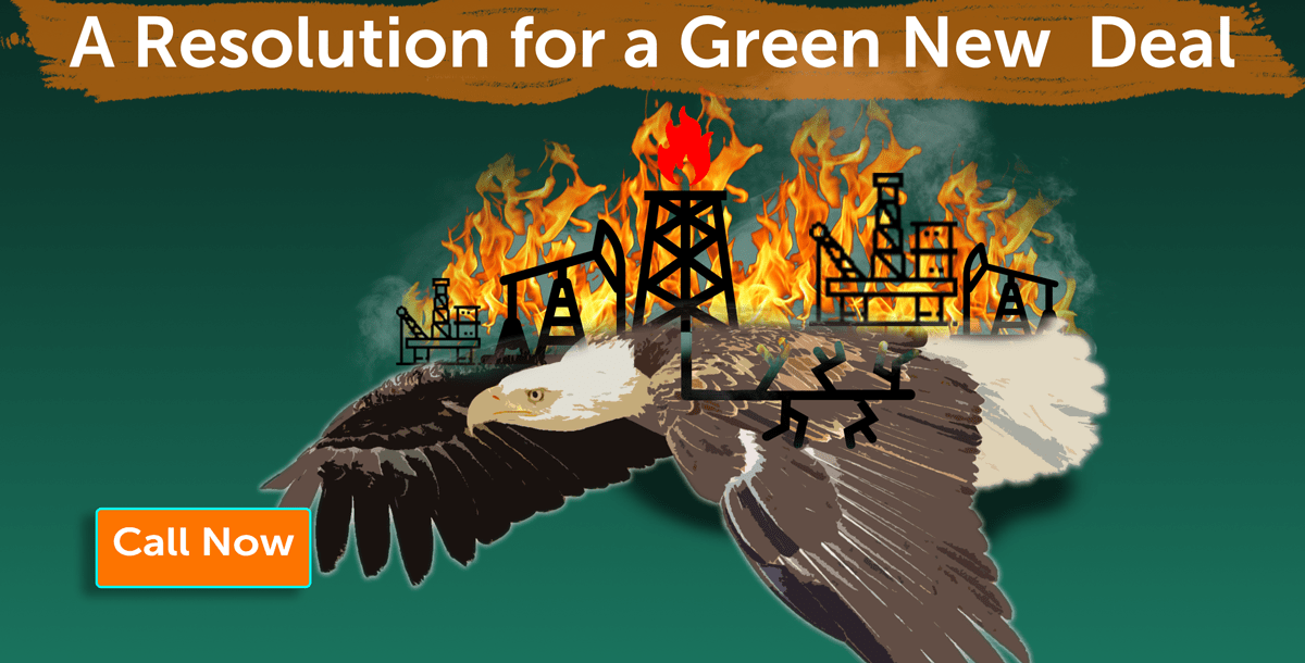 A resolution for a green new deal was introduced, call now