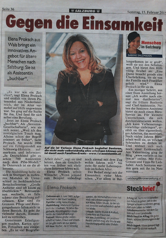 Elena Proksch in Kronen Zeitung 15.02.2015