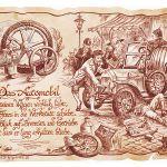 Zu Weihnachten: Zunftbild Automobil auf Antikpapier im A4-Format ein prima Geschenk