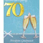 Zu Weihnachten: Geburtstagskarte zum 70. Geburtstag mit Briefumschlag ein prima Geschenk