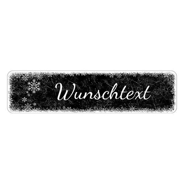 Schild Frohe Weihnacht oder mit eigenem Wunschtext 150 x 35 mm schwarz