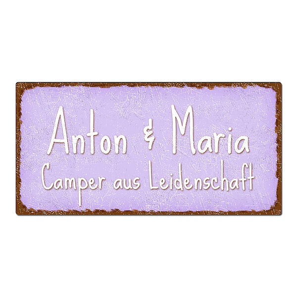 Blechschild im Vintage Look mit Wunschtext 300 x 150mm violett