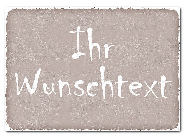bedrucktes Retroschild mit Wunschtext A4 taupe