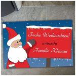 Zu Weihnachten: Fußmatte Weihnachtsmann mit Schild ein prima Geschenk