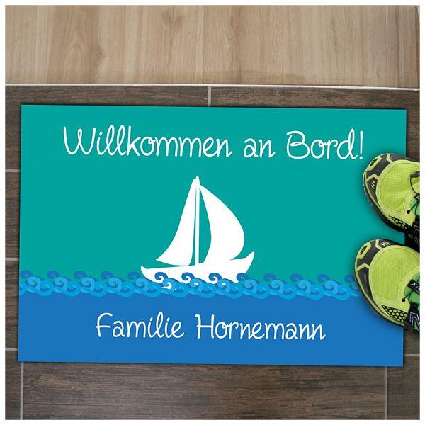 Maritime Fußmatte Boot mit Ihrem Familiennamen