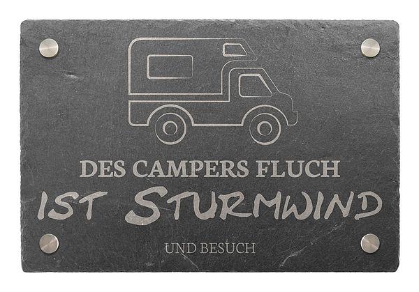 Dekoschild aus Schiefer 300 x 200 mm - Motiv Wohnmobil